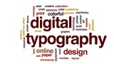 Digital typography animated word cloud, text design animation. - 179478382