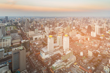 City of Bangkok central business downtown skyline with sunset tone, cityscape background