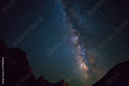 Foto op Canvas Heelal Milky way over Zion national park