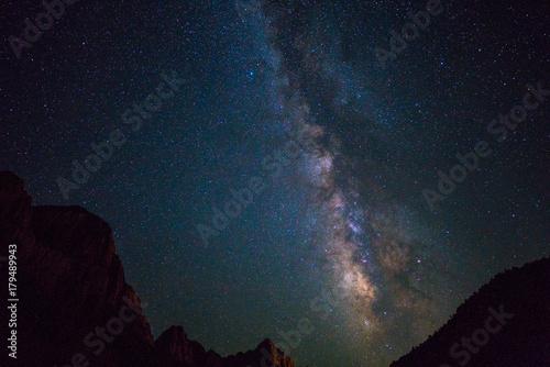 Fotobehang Heelal Milky way over Zion national park