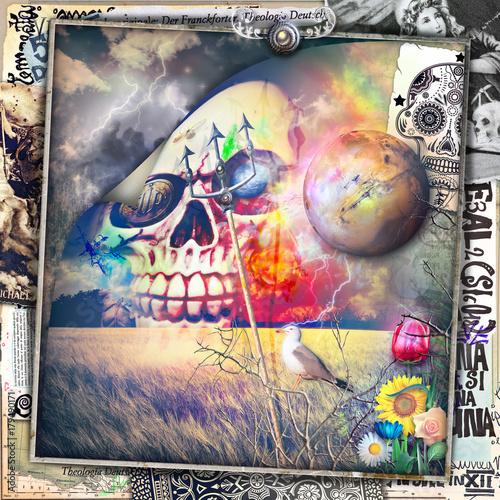 Papiers peints Imagination Scena macabra,dark e bizzarra con teschio in un cielo notturno e tempestoso