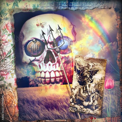 Papiers peints Imagination Scena macabra,dark e bizzarra con teschio,angelo e arcobaleno in un cielo notturno e tempestoso