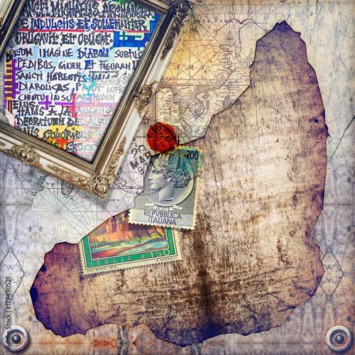 Papiers peints Imagination Sfondo dark con francobolli,manoscritti,carte e mappe