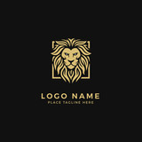 King Lion Head Logo Template, Strong Glare Lion Face. Golden Elegant Design Badge, Sticker, Icon, Emblem, Brand Identity with Rotated Square Diamond Frame