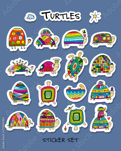 Poster Funny turtles collection, sketch for your design