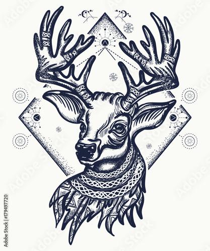 Aluminium Hipster Hert Deer tattoo and t-shirt design. Christmas reindeer. Symbol of winter, new year, Christmas. Beautiful reindeer portrait tattoo art