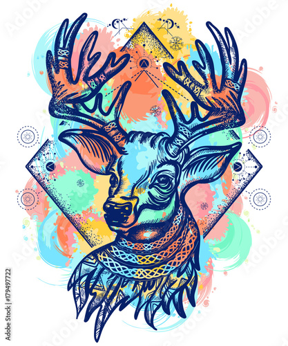 Fotobehang Hipster Hert Deer color tattoo and t-shirt design. Christmas reindeer. Symbol of winter, new year, Christmas. Beautiful reindeer portrait water color splashes tattoo art