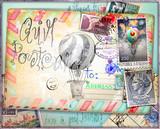 Cartolina vintage di posta aerea con vecchi francobolli e mongolfiere