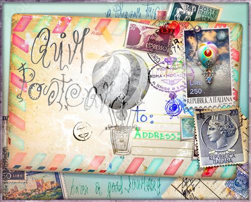 Foto op Canvas Imagination Cartolina vintage di posta aerea con vecchi francobolli e mongolfiere