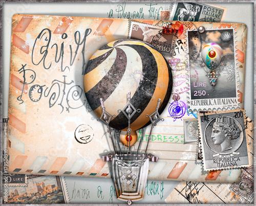 Staande foto Imagination Cartolina vintage di posta aerea con vecchi francobolli e mongolfiere