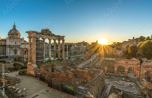 Rome, Italy - The Imperial Fora archeological ruins, at the dawn. Poster