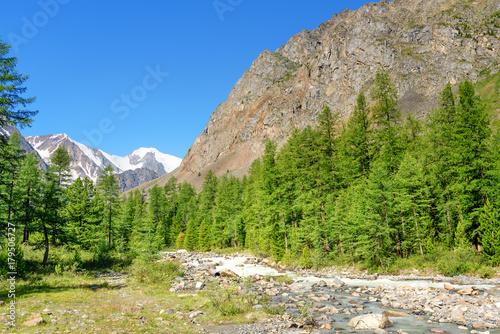 Aluminium Bergrivier View of Aktru river valley. Altai Republic. Russia