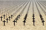Honor to the dead soldiers on beach - 179512156