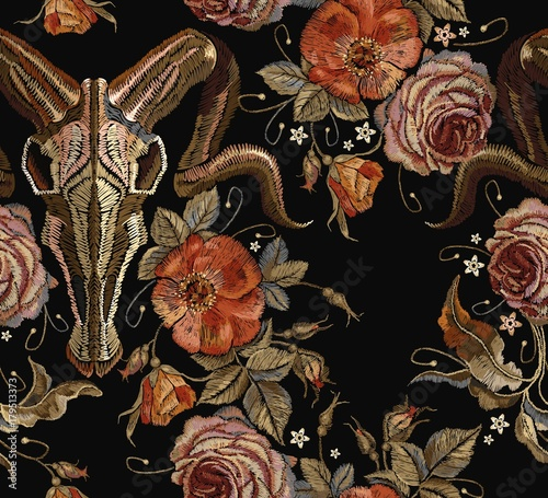 Embroidery bull skull and roses seamless pattern. Dia de muertos, day of the dead. Gothic romanntic embroidery bison buffalo skulls red roses and peonies tribal pattern, clothes t-shirt design - 179513373