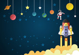 Start up concept. rocket flying on the moon,paper cut - 179517759