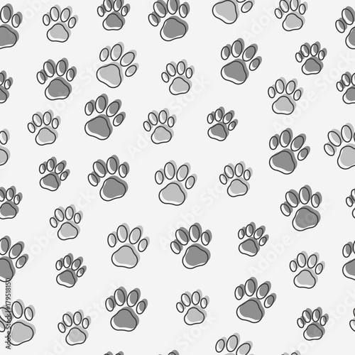 fototapeta na ścianę Dog or cat paws seamless pattern. Thin line vector illustration for background of pet shop.