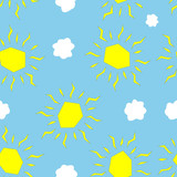 Seamless yellow sun and white cloud pattern on light blue background - Eps10 vector graphics and illustration