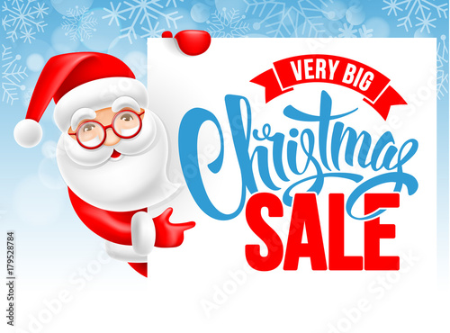 Santa Claus and Christmas sale advertising poster