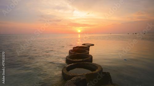 Papiers peints Cappuccino Beautiful sunset scenery at Mabul Island, Semporna.