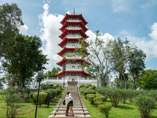 Seven story pagoda at the Chinese and Japanese Garden in Singapore