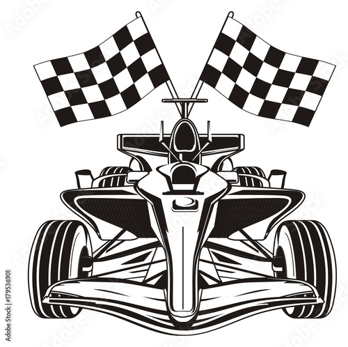 Fotobehang F1 bolid, car, formula, formula one, race, cartoon, illustration, speed, black, black and white, flags, finish, not colored