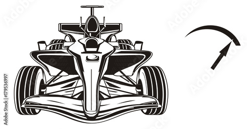Fotobehang Auto bolid, car, formula, formula one, race, cartoon, illustration, speed, black, black and white, arrow, not colored