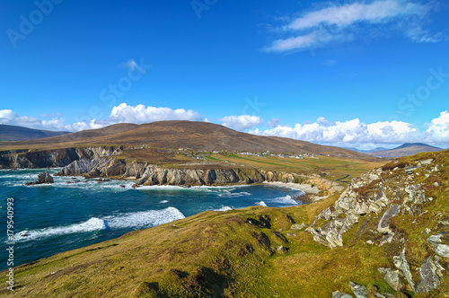 Wall mural beautiful rural irish country nature landscape from the north west of ireland. scenic achill island along the wild atlantic way. famous irish tourism attraction.
