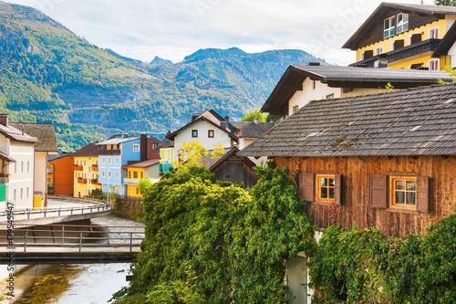 Papiers peints Automne Beautiful street in Ebensee village in Austrian Alps