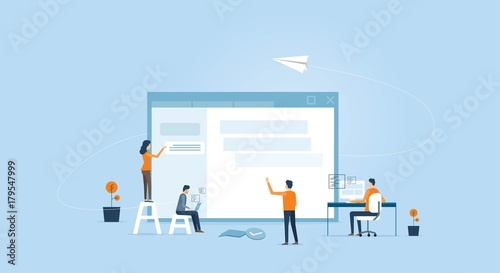 web develop and web design team ,and people business team working concept
