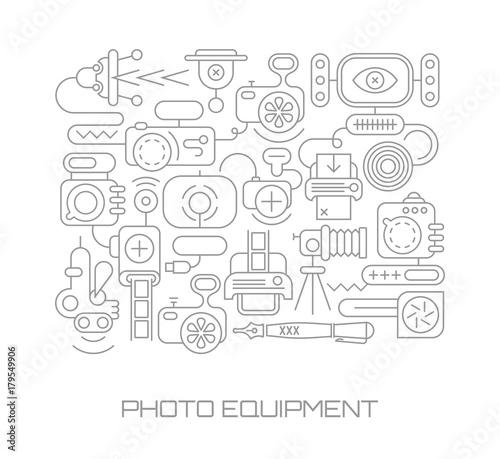 Fotobehang Abstractie Art Photo Equipment vector illustration