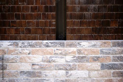 Foto op Canvas Baksteen muur Verschiedene Mauersteine / Ein Muster aus verschiedenen Ziegelsteinen mit verschiedenen Strukturen und Oberflächenmustern.