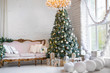 Christmas background. Interior room decorated in xmas style. No people. New year tree and gifts