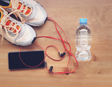 Pair of sport shoes and fitness accessories. Fitness concept - 179562137