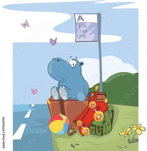 Papiers peints Chambre bébé Illustration of a Cute Hippo Traveler. Cartoon Character