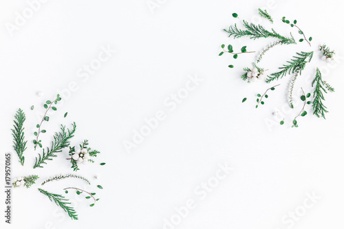 Christmas composition. Frame made of winter plants, flowers, berries on white background. Christmas, winter, new year concept. Flat lay, top view, copy space - 179570165