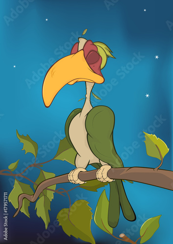 Papiers peints Chambre bébé Illustration of a Parrot on a Tree. Cartoon