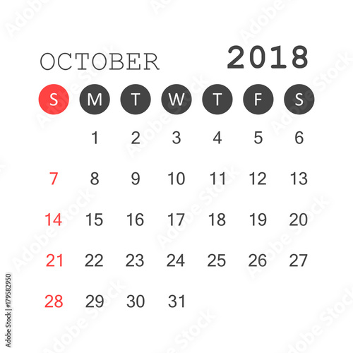 october 2018 calendar calendar planner design template week starts on sunday business vector
