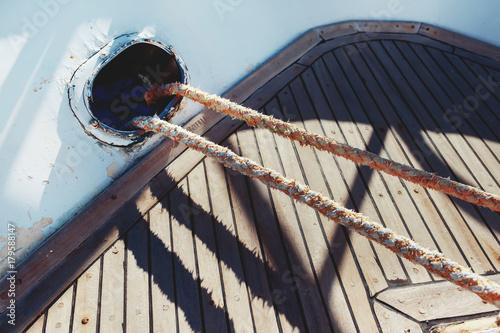Keuken foto achterwand Schip Sailing equipment on a boat
