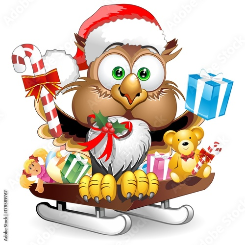 Tuinposter Draw Owl Christmas Santa Happy Face Character