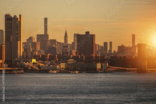 Foto op Plexiglas Ochtendgloren New York Skyline Sunrise