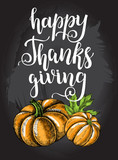 Thanksgiving Background. Greeting card with Ink hand drawn pumpkins and maple leaves. Autumn harvest elements composition with brush calligraphy style lettering. Vector illustration. - 179591990