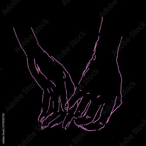 Vector sketch with holding hands. Man and woman hold their hands - 179592792