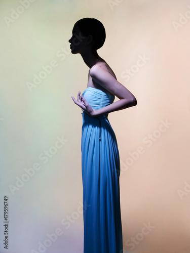 Plexiglas Women Art Graceful woman in green dress