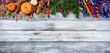 Yearend seasonal holidays on rustic white wood