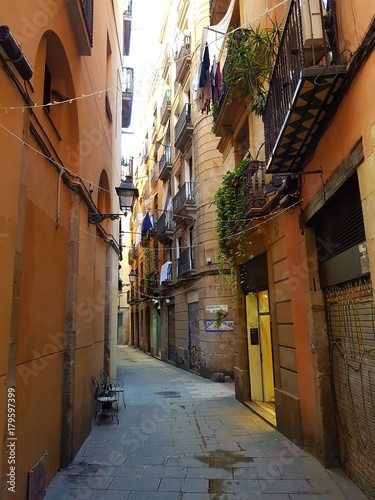 Aluminium Barcelona street in Barcelona in the gothic quarter/ Borne/raval/vella