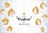 Christmas card with hanging balls on bokeh