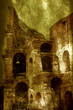 Digital illustration simulate antique oil painting or roman ruins. Original background of Colosseum with fresco effect.