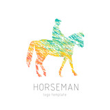 Horseman on sports horse silhouette logo design vector template. Logotype emblem icon. Creative colourful brush grunge style.