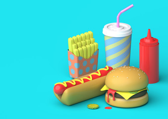 Fast Food Scene - 3D Illustration An arrangement of fast food such as fries, a hot dog, a burger, a milkshake and ketchup on a blue background. The objects are designed in a slight plastic fashion.