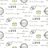 Love letters seamless vector pattern on white. Romantic valentine wrap paper black and white text design.